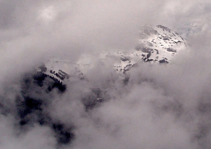 Rockies near Whistler cloaked in clouds