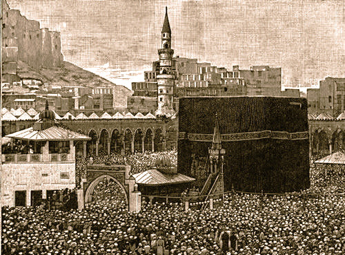 old print of the kaaba and the surrounding masjid